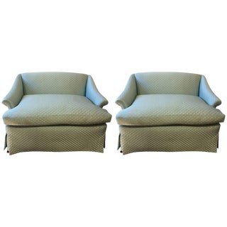Mid 19th Century Tiffany Blue Silk Quilted Love Seats- A Pair For Sale