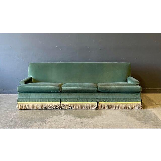 Modern Vintage Custom Green Velvet Sofa For Sale - Image 3 of 5