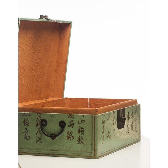 "Leather Lawrence & Scott Pine Green Leather Inscription Box With Full Hardware (16.5"") For Sale - Image 7 of 8"