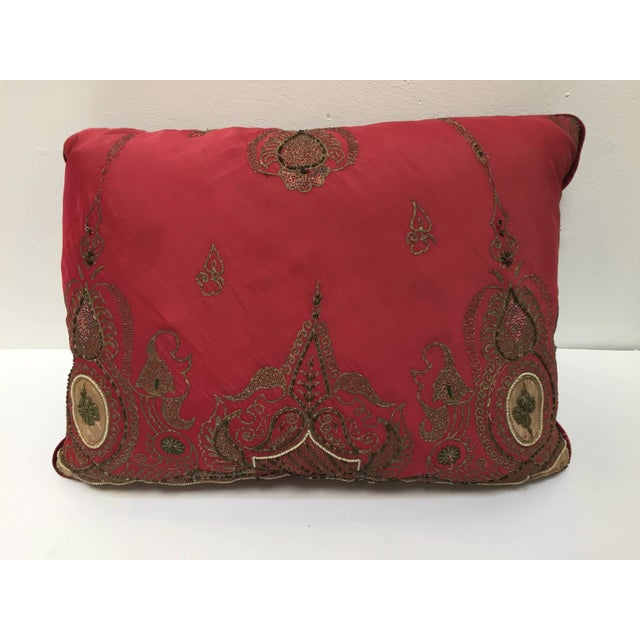 Pair of Antique Turkish Ottoman Silk Pillows With Metallic Threads For Sale - Image 4 of 13
