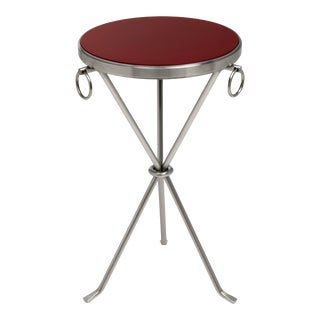 KRB New York Collection Freddie Table Nickel in Bordeaux Red / Nickel For Sale