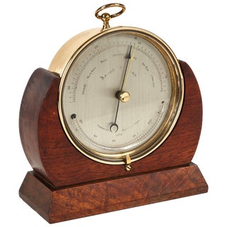 Brass Barometer Resting in Wood Base From Mid-19th Century England For Sale