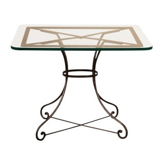 Vintage French Industrial Iron & Glass Bistro Table