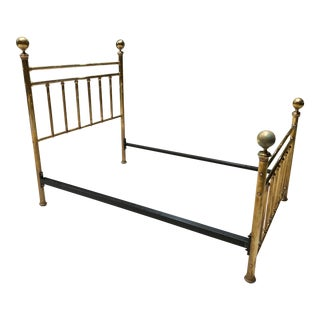 Antique Solid Brass Double Bedframe With Large Ball Finals For Sale