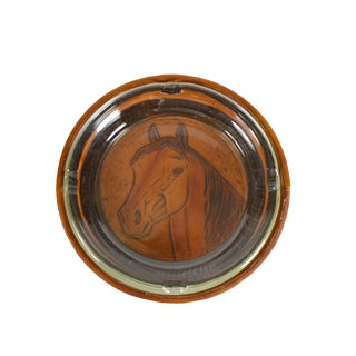 Vintage Glass Ashtray With Handmade Hand Tooled Horse Leather Base Wrap For Sale