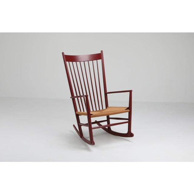 2000 - 2009 Hans Wegner J16 Rocking Chair in Burgundy For Sale - Image 5 of 9