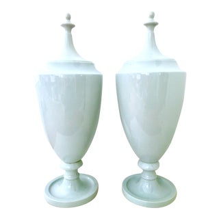 Contemporary Chinese Ceramic Glaze Celadon Lidded Floor Urns - a Pair For Sale