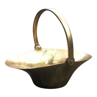 Vintage Mid-Century Modern Brass Small Basket For Sale