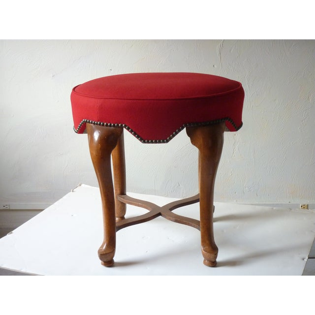 Yale Burge Red Upholstered Low Stool For Sale In Boston - Image 6 of 6
