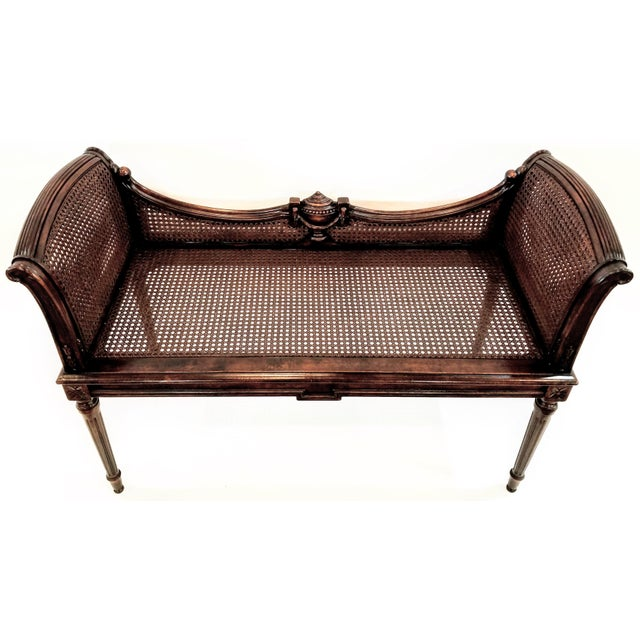 Antique Carved and Caned Window Settee With Neoclassic Motifs For Sale - Image 10 of 10