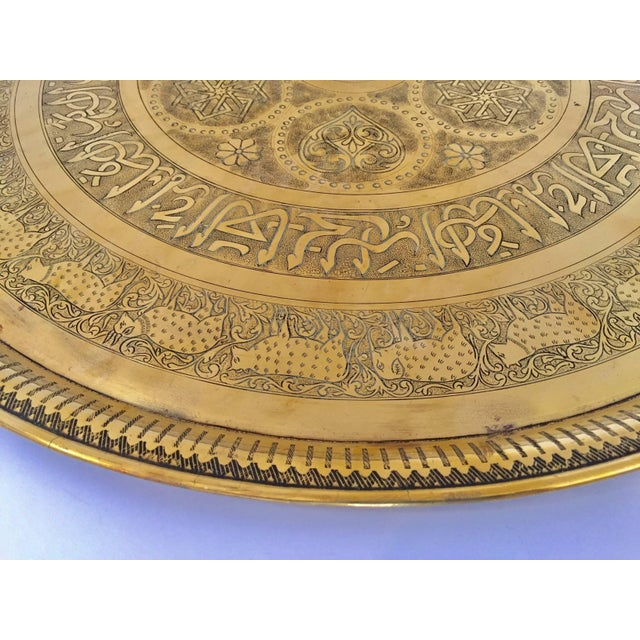 Metal Indo-Persian Handcrafted Decorative Hammered Brass Tray For Sale - Image 7 of 13