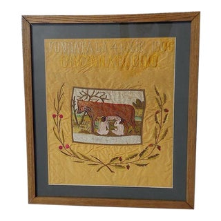 Antique Cincinnati Romulus/Remus Silk Embroidery For Sale