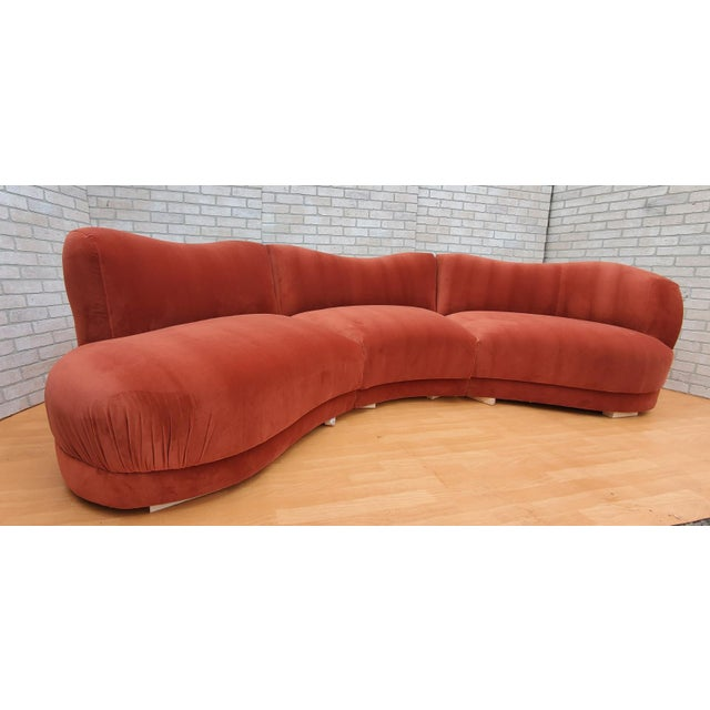 Mid Century Modern Vladimir Kagan for Directional Three Piece Curved Sectional Sofa Newly Upholstered in a High End Burnt...