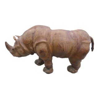 Leather Sculpture of a Rhinoceros With Glass Eyes For Sale