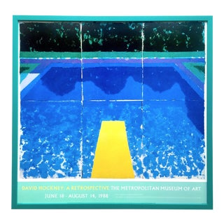 "David Hockney Rare Vintage 1988 Iconic Lithograph Print Framed Exhibition Poster "" Day Pool With Three Blues "" 1978 For Sale"