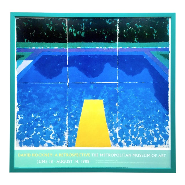 """David Hockney Rare Vintage 1988 Iconic Lithograph Print Framed Exhibition Poster """" Day Pool With Three Blues """" 1978 For Sale"""