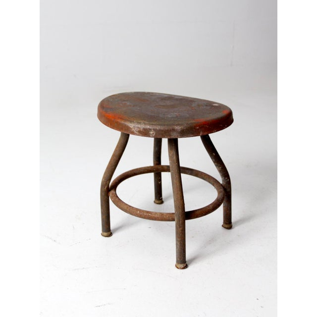 Gray Vintage Industrial Metal Stool For Sale - Image 8 of 12
