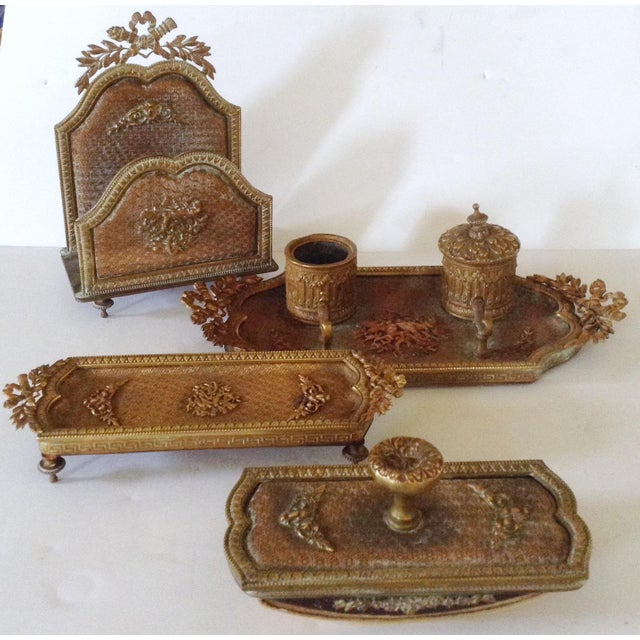 This 4 Piece Desk Set Consists Of A Stationary Holder Double Inkwell With Pen