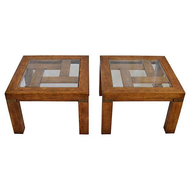 Glass-Top Fretwork Side Tables by Drexel - Image 1 of 4