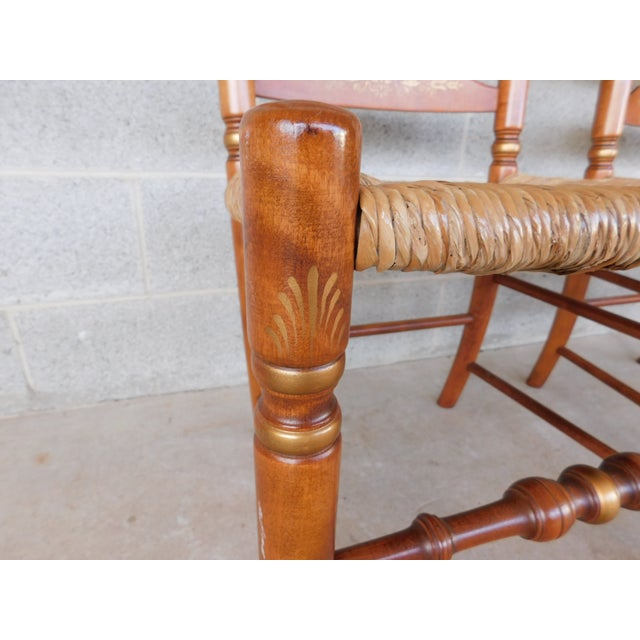 L Hitchcock Harvest Stenciled Ladder Back Rush Bottom Chairs - a Pair For Sale - Image 9 of 13
