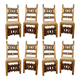 Set of 8 19th Century Italian Renaissance Revival Carved Dining Chairs