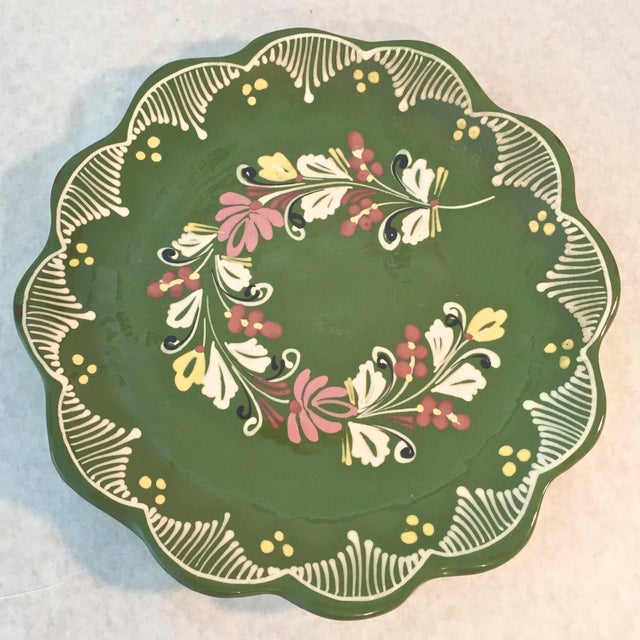 Vintage Hand Painted Decorative Hanging Plate For Sale In Tampa - Image 6 of 6