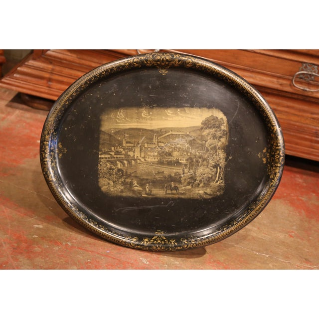 19th Century French Napoleon III Giltwood Base With Oval Hand Painted Tole Tray For Sale - Image 4 of 9