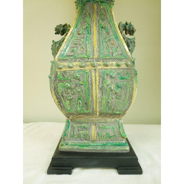 Ceramic Vintage Chinoiserie Designer Lamps - a Pair For Sale - Image 10 of 11