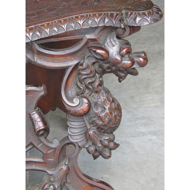 Italian 19th C. Horner Style Figural Carved Bench - Image 7 of 9