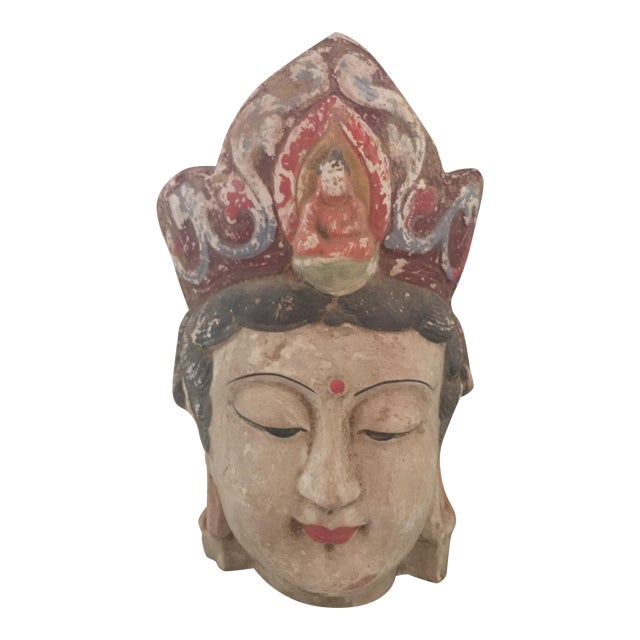 Quan Yin Terracotta Hand Painted Head - Image 1 of 8
