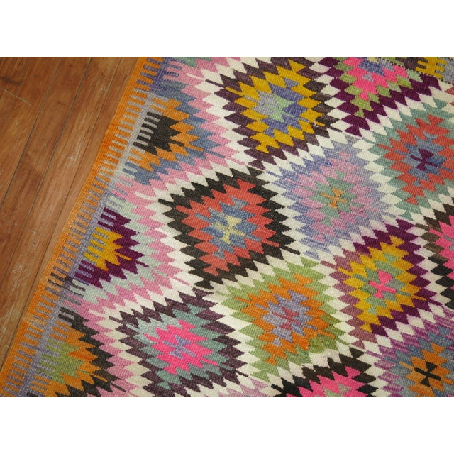 Mid 20th Century Vintage Flat Weave Kilim Rug - 3'9'' X 4'6'' For Sale - Image 5 of 8