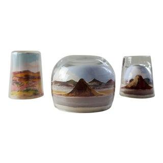 Vintage 1940's Desert Landscape Sand Paintings Under Glass - Set of 3 For Sale