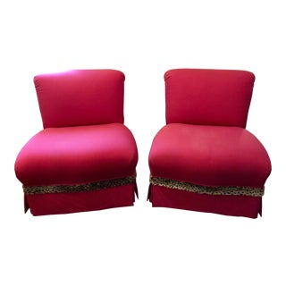 Early 21st Century Custom Upholstered Slipper Chairs- A Pair For Sale