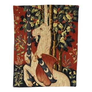 1980s Allan Waller Ltd. Point De l'Halluin Tapestries, Lady and the Unicorn Panel #1 For Sale