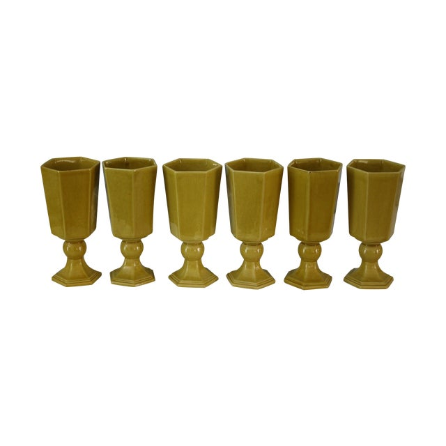 Vintage Yellow Ceramic Water/Wine Glasses - S/6 - Image 1 of 5