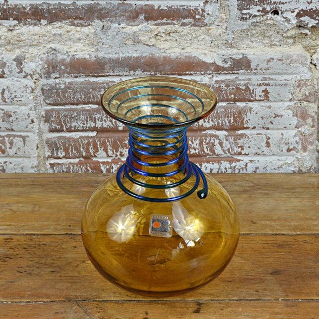 Vintage Blenko Amber Blue Spiral Vase For Sale - Image 6 of 7