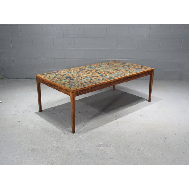1960s 1960s Danish Modern Rosewood and Tile Coffee Table For Sale - Image 5 of 10