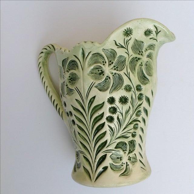 Green Botanical Artisan Pottery Pitcher - Image 8 of 11