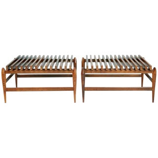 Liceu De Artes E Oficios Jacaranda Slatted Side Tables, Pair, Brazil, Circa 1950 For Sale