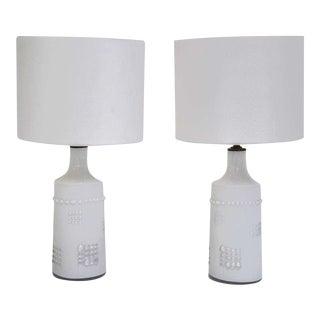 Swedish White Glass Lamps, Pukeberg For Sale