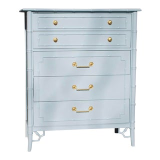 Vintage Thomasville Lacquered French Blue Faux Bamboo Tallboy Dresser For Sale