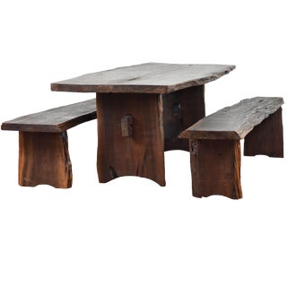 Live Edge Dining Table & Benches Dining Set