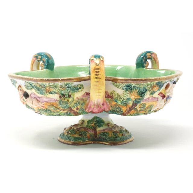 Vintage Italian Capodimonte Clover-Shaped Footed Bowl For Sale - Image 4 of 13