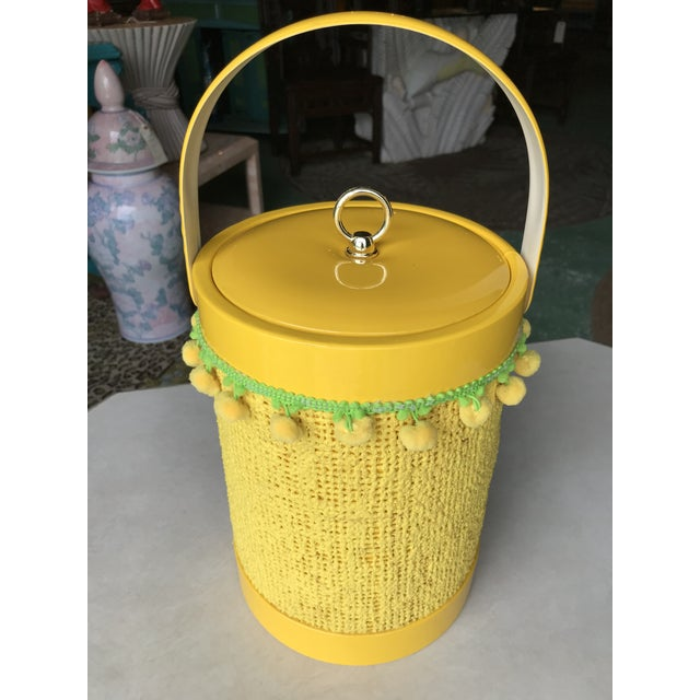 Vintage Mid-Century Modern Yellow Fringed Ice Bucket For Sale - Image 10 of 10
