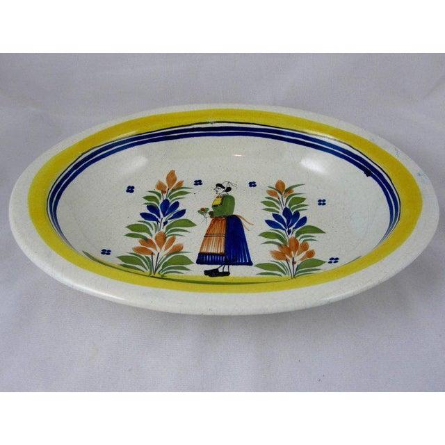 French Provincial HenRiot Quimper Oval Faience Bowl, Femme de la Campagne Breton For Sale - Image 3 of 9