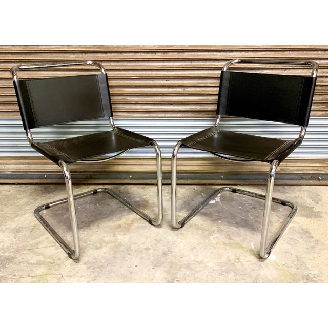 Vintage Mid Century Mart Stam Leather and Chrome Cantilever Chairs- A Pair For Sale - Image 13 of 13