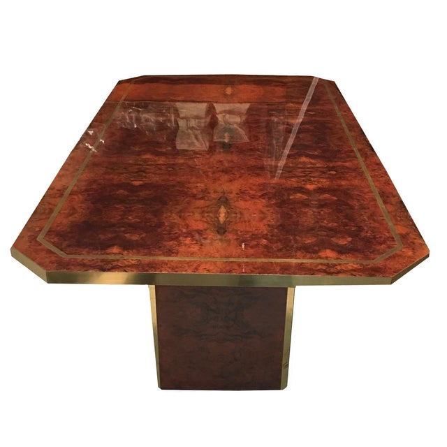 Jean Claude Mahey Cedar Burl and Brass Dining Table by Jean Claude Mahey For Sale - Image 4 of 7