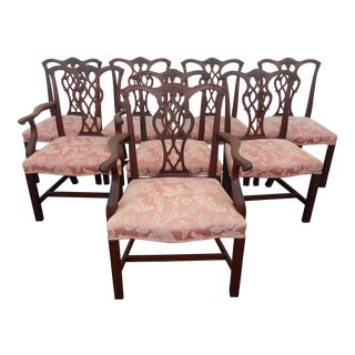 Vintage Chinese Chippendale Pink Dining Chairs - Set of 8