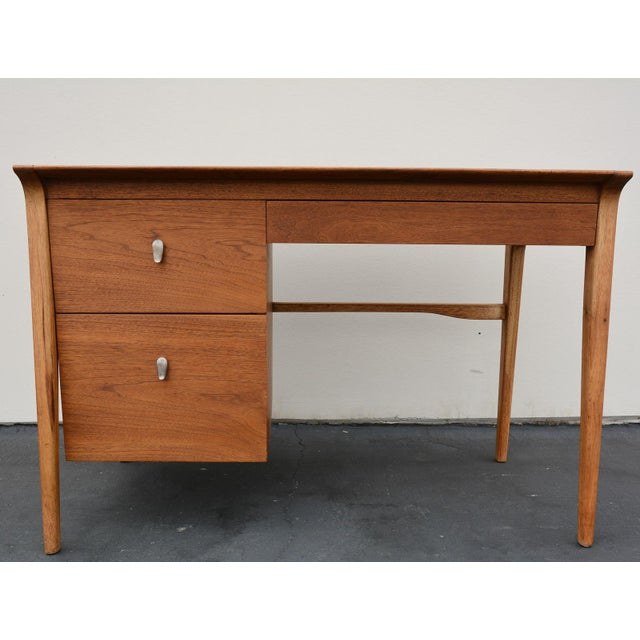 Danish Modern Mid-Century John Van Koert for Drexel Profile Walnut Floating Desk For Sale - Image 3 of 10