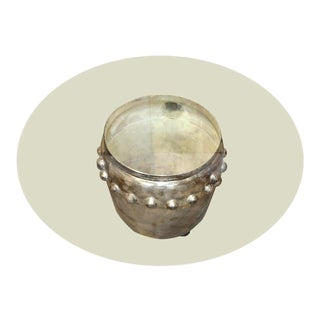 Asian Silver Plated Drum Table For Sale